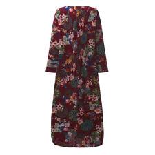 Sexy Women Casual Long Sleeve Loose Cotton Kaftan Oversized Outdoor Maxi Dress