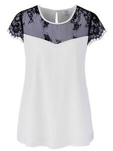 Joanna Hope White Blouse Plus Size 20 22 24 26 28 30 Cream Black Lace Top 315