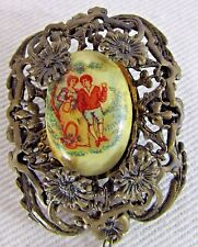 Portrait Brooch Tassel Courting 1910's Vtg Hand Painted Victorian Hand Painted