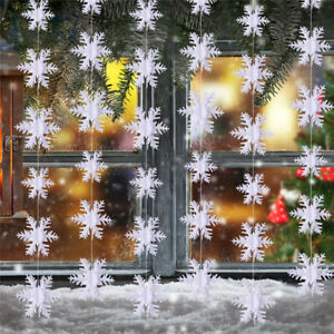 3M White Elegant Winter Snowflakes Hanging House Wall Window Xmas Decorations