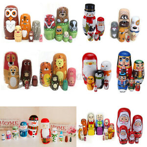 Various Wooden Russian 5/6pcs Nesting Dolls Matryoshka Babushka Toy Christmas
