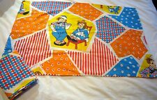 Pair Vintage Pacific Raggedy Ann andy Pillowcase Standard Bright Blue Red Retro