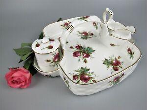Superb vintage Hammersley - Spode Strawberries & Cream Basket. Grandmothers Rose