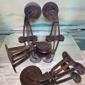 Antique Castors Cast Iron Lignum Vitae 19th Century Trolley Wheels SUPERB 28 cm