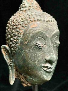 Exceptional GENUINE 16th-17th c Thai SUKHOTHAI Buddha head with superb patina