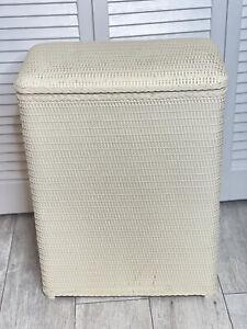 "Vintage Cream Laundry Basket Hamper Clothes Wicker Retro Mid Century 11""x19""x26"""