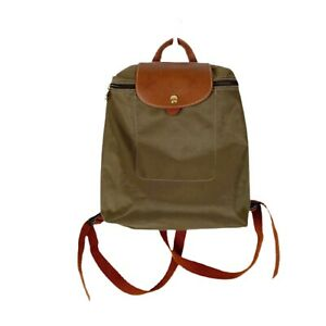 Longchamp Le Pliage Nylon Backpack In Khaki Green Foldable Adjutable