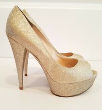 Enzo Angiolini Gold Glitter Platform Heels Bracy Size 9 Sparkle Peeptoe