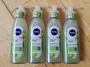 4x NIVEA FACE WASH MICELLAR NATURALLY GOOD %99 NATURAL ORGANIC ALOE VERA 140ml