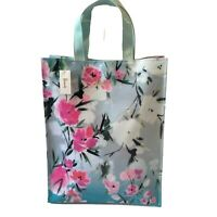 Harrods Pink Blossom Medium Shopper Bag Blue Floral Flowers PVC