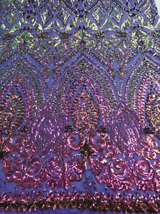Iridescent Purple Geometric 4 Way Stretch Sequin Fabric Mesh Prom-Gown By Yard