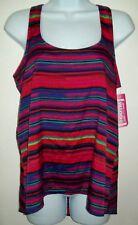 eyeshadow ootm womens top sz m red purple stripe sleeveless racerback hi lo hem