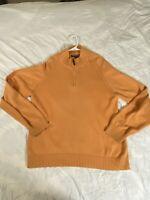 Vineyard Vines Men's Size Large 1/4 Zip Long Sleeve Pullover Orange Sweater  Bc