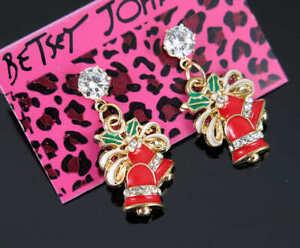 New Betsey Johnson Lovely Christmas bells white crystal Lady Ear Stud Earrings