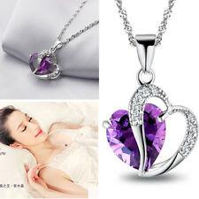 Popolar Amor&Corazón Cristal Plateado Pendiente Collar Colgante Mujer Joya Nuevo