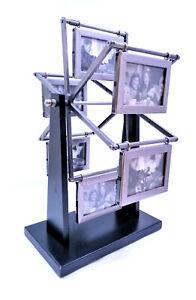 "Picture Frame Ferris Wheel, 12 photo, Black Base, Pewter Finish, 9"" diameter"