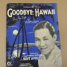 songsheet GOODBYE HAWAII Dave Apollon 1934