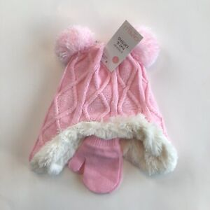 Capelli New York Kids Hat 2-4 T Pink White Cable Knit Mittens 2PC Set NWT