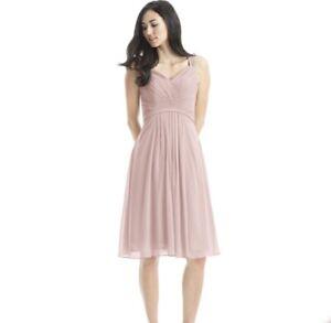 AZAZIE Sz 12 Clara Dusty Rose A-Line V-Neck Chiffon Knee Length Bridesmaid Dress