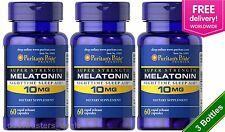 3 X Puritan's Pride Melatonin 10 mg Sleep Aid 60 Caps Total 180 Caps Made in USA
