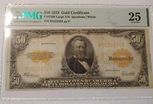1922 $50 Gold Certificate FR 1200 Large S/N Speelman PMG 25 Very Fine