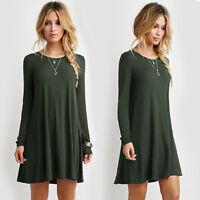 Hot Women Casual Long Sleeve Tunic Blouse Jumper Top T Shirt Mini Dress Pullover