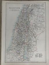 1897 PALESTINE LARGE ORIGINAL ANTIQUE MAP A & C BLACK 123 YEARS OLD