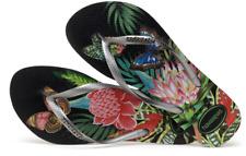 e104dd02d Havaianas Women`s Flip Flops Slim Tropical Floral Sandals Black Graphite NWT