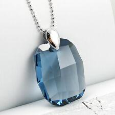 Smoky Blue Chunky Large Crystal Sterling Silver Necklace 925 Made with Swarovski