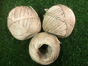 Garden String x 3 Twisted Linen Yarn Polished Thread Biodegradable Natural fiber