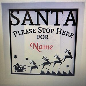PERSONALISED VINYL DECAL STICKER SANTA PLEASE STOP HERE FOR BOXFRAME OR WINDOW