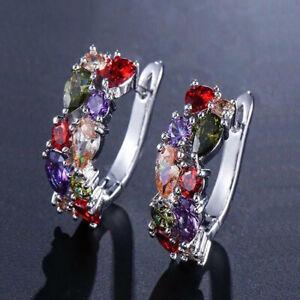 New Mona Lisa Mix Color Amethyst Garnet Gemstone Women Silver Dangle Earrings