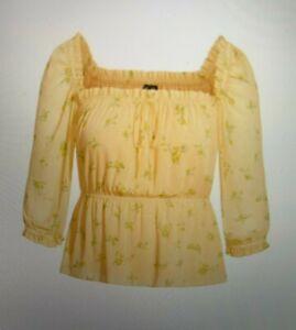 City Chic Plus Size 18 M Lemon Yellow Floral Top Off Shoulder rrp $79 BNWT #H23