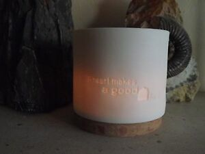 Porcelain and Wood Tealight Holder for large and small Tealights - White