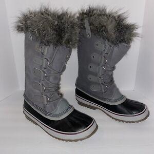Sorel Joan Of Arctic Womens Boots Gray Mid Calf Fur Trim Waterproof Size 9