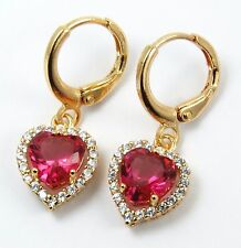 Women's 18 carat Gold Plated Red Heart Crystal drop dangle Huggie Earrings