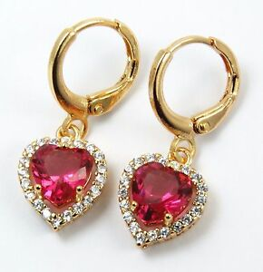 Women's Gold Plated Red Heart Crystal drop dangle Huggie Earrings