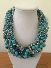 NWOT Faux Light Turquoise Crystal Bead Bib Statement Necklace Anthropologie