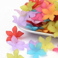 50pcs Mixed Frosted Acrylic Flower Beads Caps Jewelry Charm Pendant DIY 29x27mm