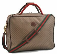 Authentic GUCCI Web Sherry Line Travel Bag Micro GG PVC Leather Beige A5594