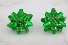 Green Christmas Bow Earrings Post Style Fashion Jewelry NEW