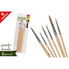 Set 6 Pennelli Punta Tonda Professionali Pittura Acrilica Dipingere Artista dfh