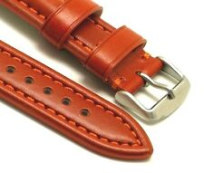 20mm Orange Brown Quality Oil Tanned Leather Watch Strap Silver Tone Buckle
