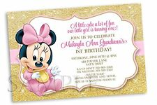 10 Baby Minnie Mouse Pink Gold Birthday Party Personalized Invitations 1st