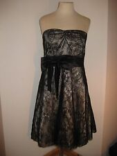 New Look Black Lace Effect Fully Lined Strapless Party/Evening Dress - size 10