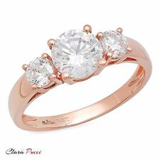 1.50 CT Three Stone Round Cut Ring Engagement Wedding Band 14K Rose Gold