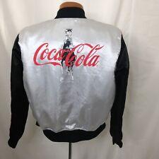 RARE VINTAGE 80S Coca Cola Womens Silver Red Black Satin Baseball Jacket S VTG