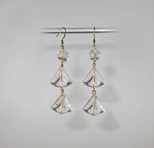 ~ VINTAGE ART DECO  CLEAR FACETED LUCITE DROP EARRINGS!~~