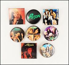 Poison 80's Lot Of 8 Buttons Pin Bret Michaels Open Up And Say Ahh