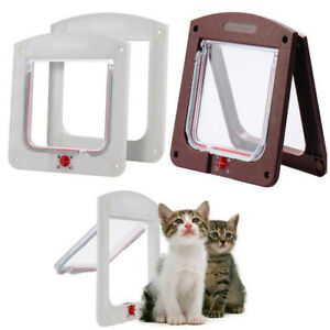 4 Way Pet Kitten Door Frame Safe Locking Lockable Dog Cat Flap Magnetic ABS NEW